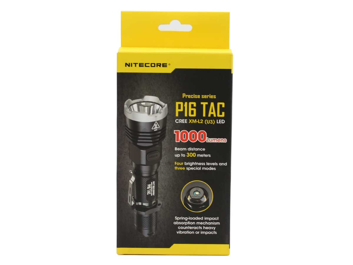 Nitecore P16-TAC Tactical LED Flashlight - CREE XM-L2 U3 - 1000 Lumens - Uses 1 x 18650 or 2 x CR123A