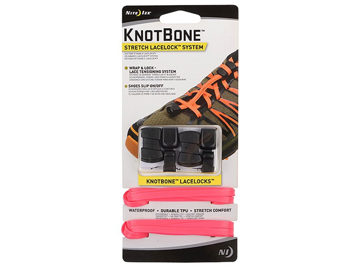 Nite Ize KnotBone Stretch LaceLock System for Shoes - Includes 2 x 54-Inch Laces, 2 x LaceLocks and 2 x Lace Caps - Many Colors Available