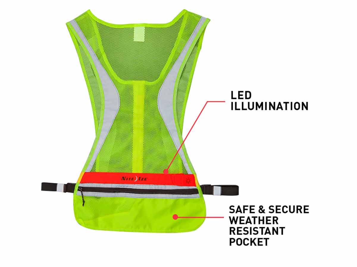 Nite Ize LED Run Vest - Red LED - Includes 2 x CR2032s - Size L/XL (LRVL-33-R8) or Size S/M (LRVS-33-R8)